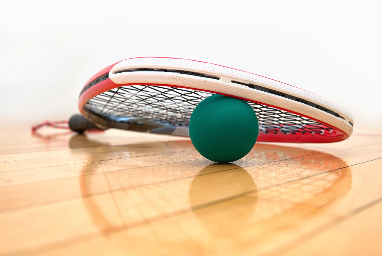 racquetball racquet on court