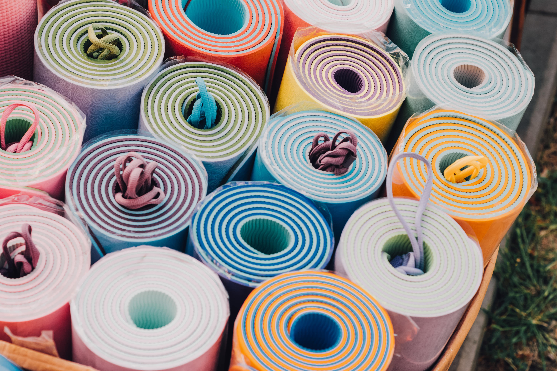 yoga mats in a bundle