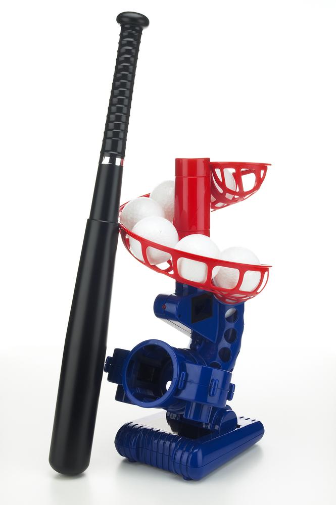 A child-friendly baseball pitching machine