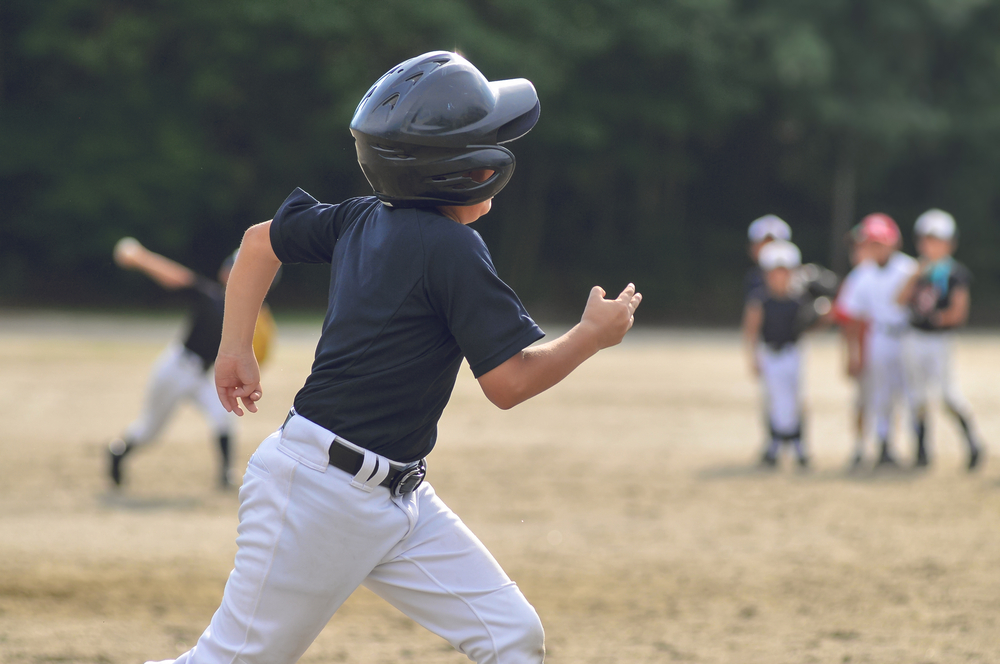 running the bases in a helmet