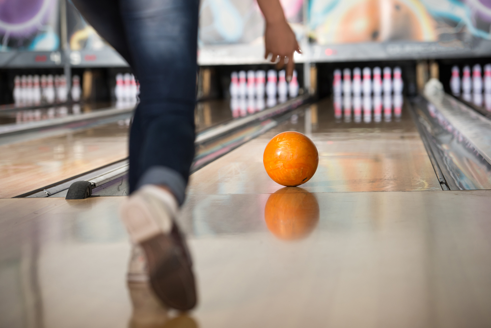 bowling ball rolling on the lane