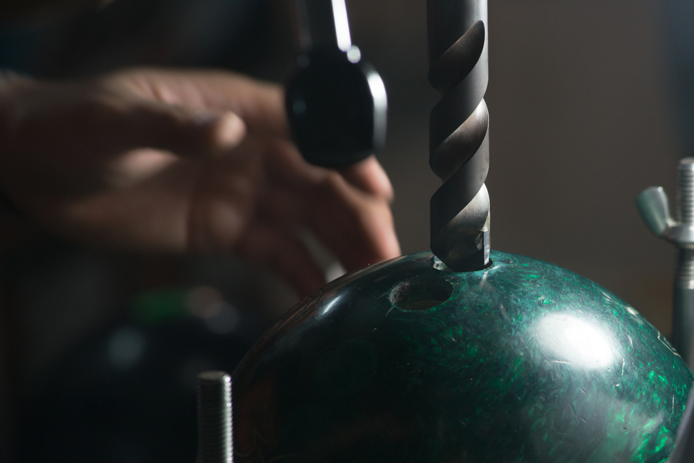 drilling holes in bowling ball