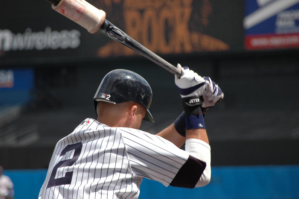 Derek Jeter with batting gloves